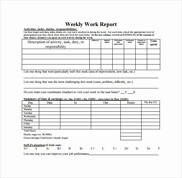 Weekly Management Report Template Elegant Weekly Report Template Editable Weekly Management Report
