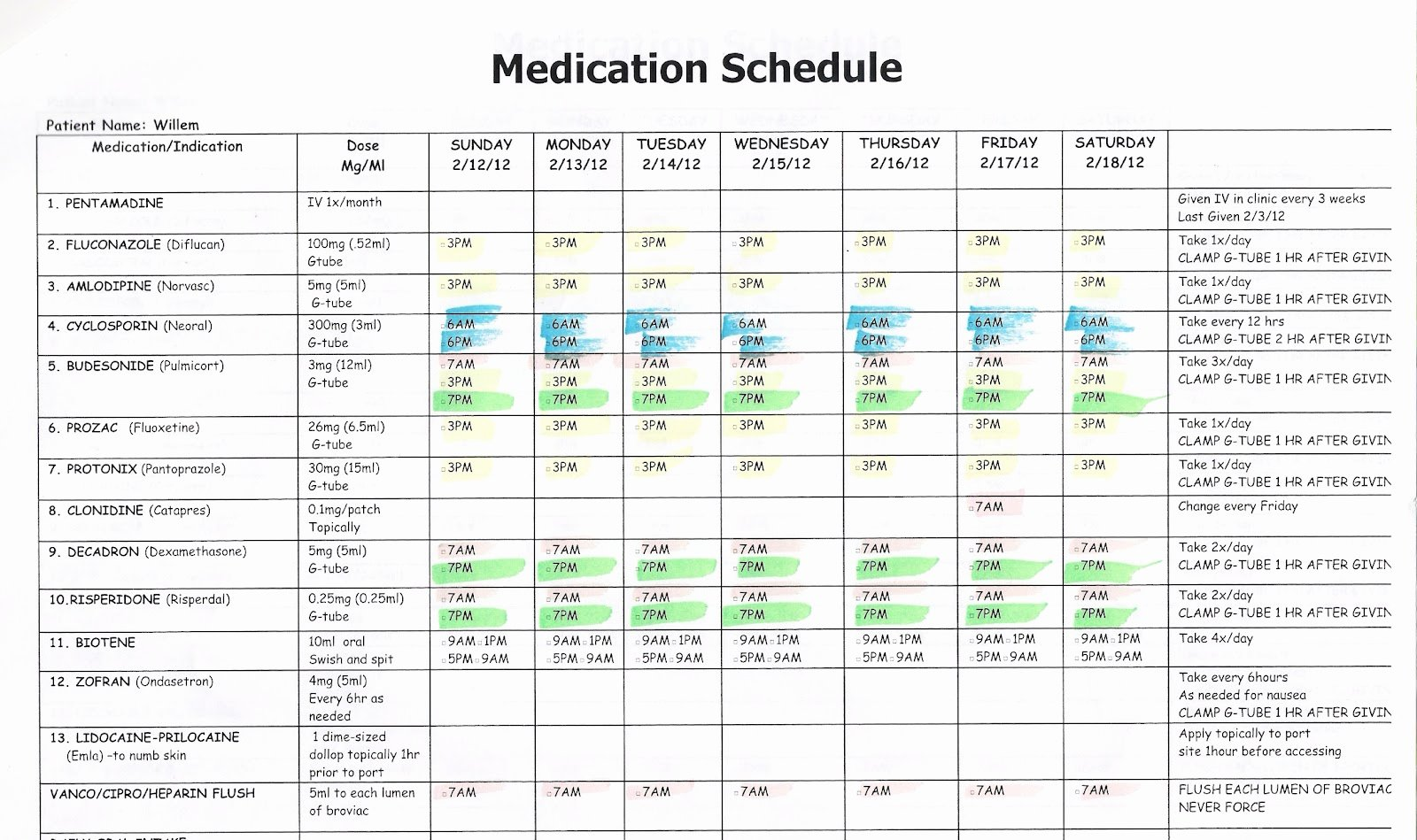 Weekly Medication Schedule Template Awesome Willem February 2012