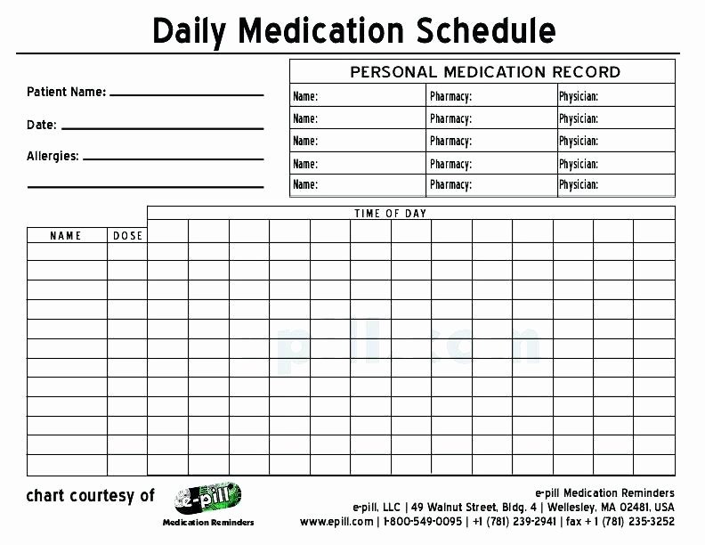 Weekly Medication Schedule Template Beautiful Free Daily Medication Schedule Template Medicine Chart