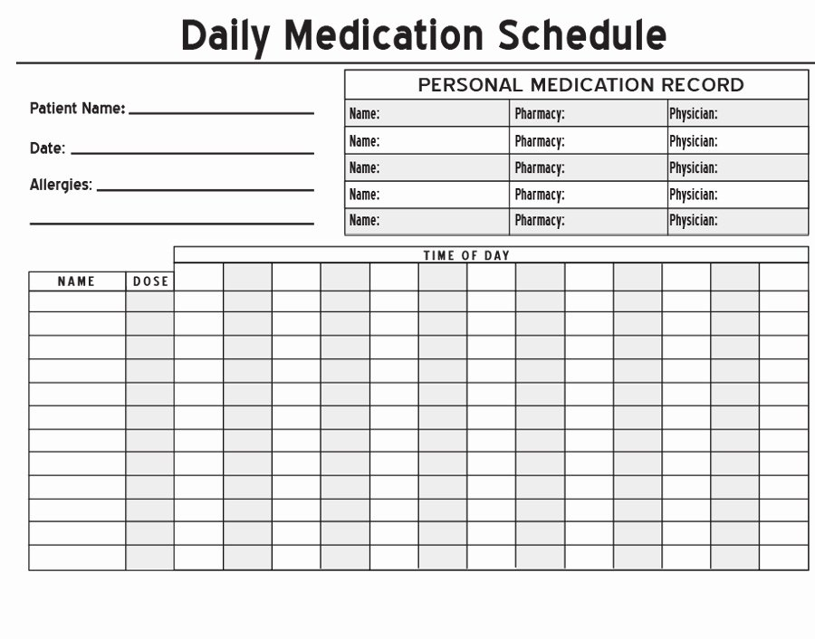 Weekly Medication Schedule Template Fresh 40 Great Medication Schedule Templates Medication Calendars