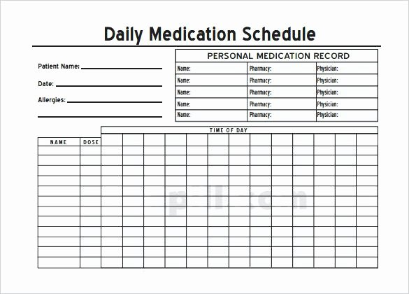 Weekly Medication Schedule Template Fresh Free Daily Medication Schedule Template Medicine Chart