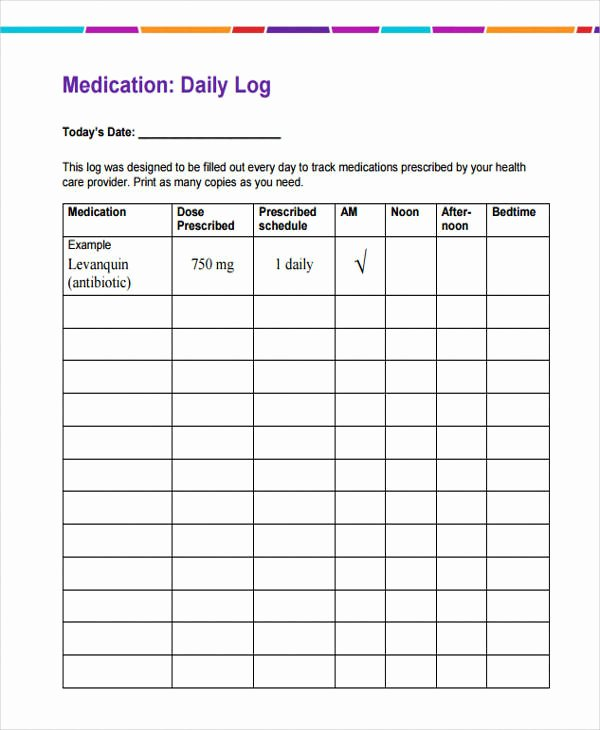 Weekly Medication Schedule Template Lovely 35 Daily Log Samples & Templates