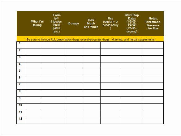 Weekly Medication Schedule Template Lovely Medication Schedule Template
