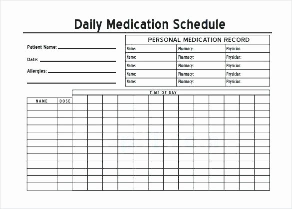 Weekly Medication Schedule Template Luxury Daily Medication Chart Sample Download Template Free