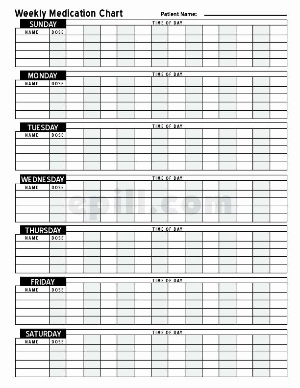 Weekly Medication Schedule Template New Free Medication Schedule E Pill Medication Chart