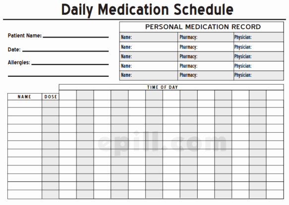 Weekly Medication Schedule Template Unique 6 Medication Intake Schedule Templates – Word Templates