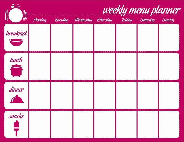 Weekly Menu Template Word Elegant Weekly Menu Template