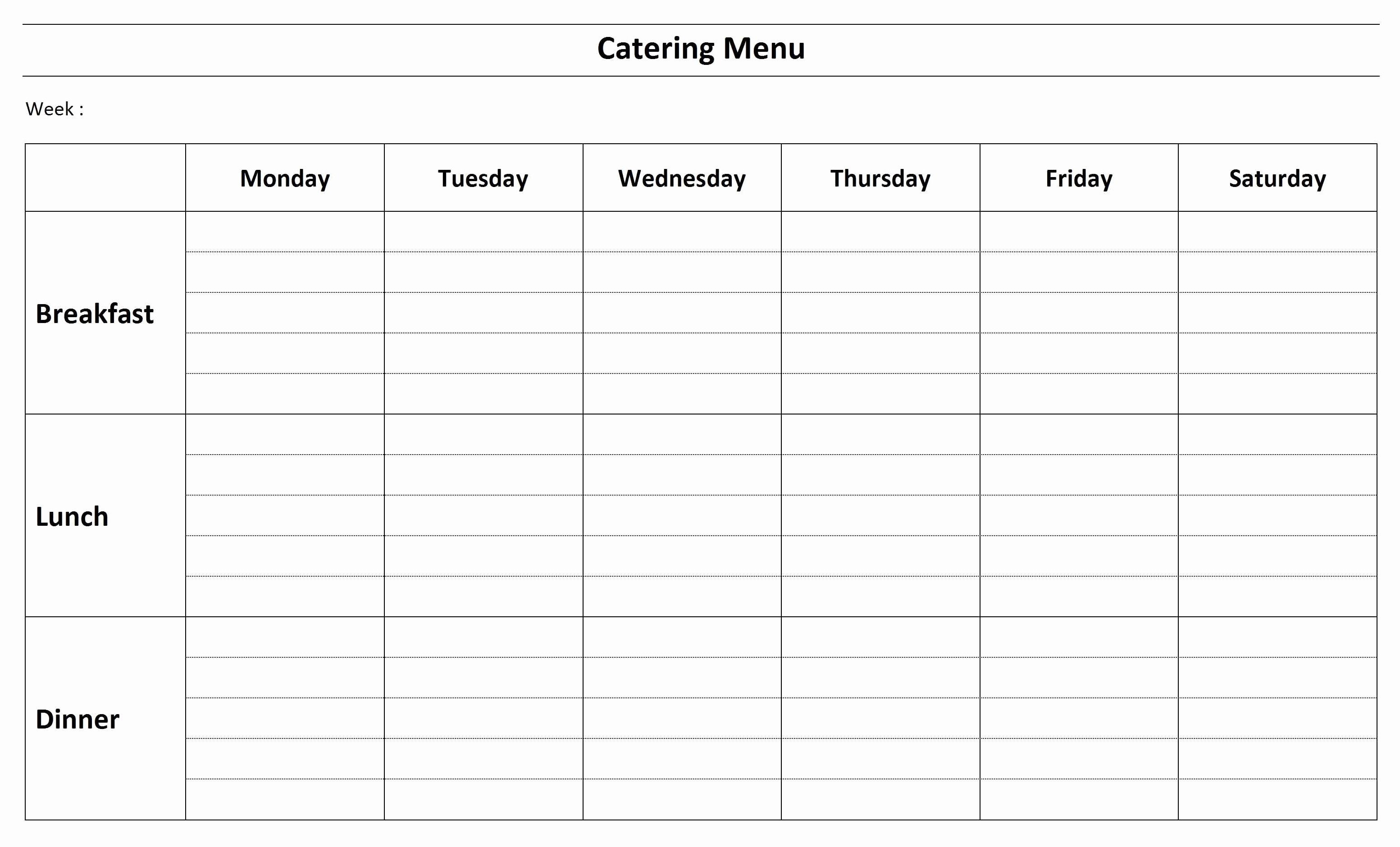 Weekly Menu Template Word Inspirational Free Catering Menu Template