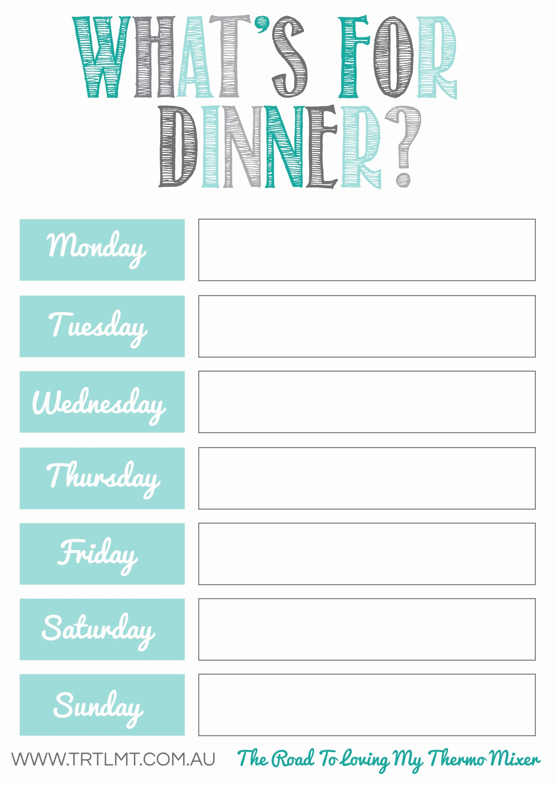 Weekly Menu Template Word Inspirational What S for Dinner 2 Fb organization