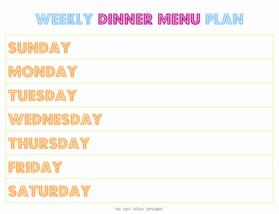 Weekly Menu Template Word Lovely Weekly Menu Template