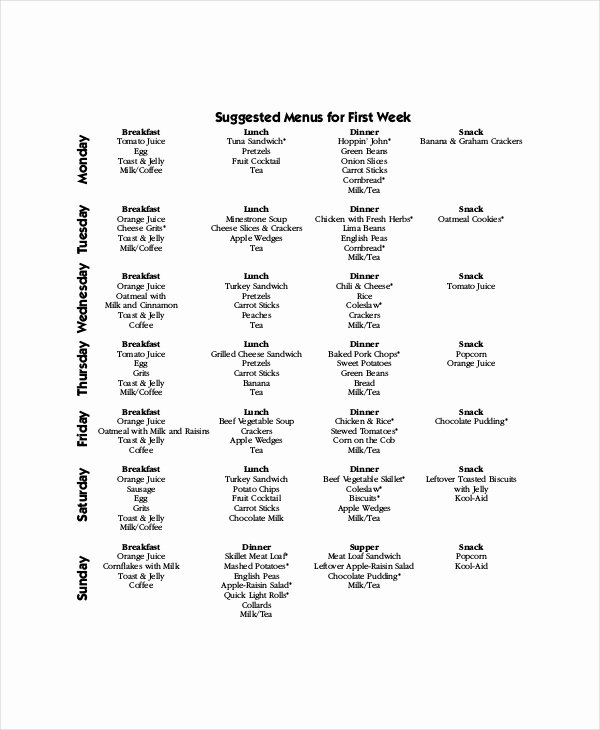 Weekly Menu Template Word New Weekly Menu Template 7 Free Pdf Word Documents