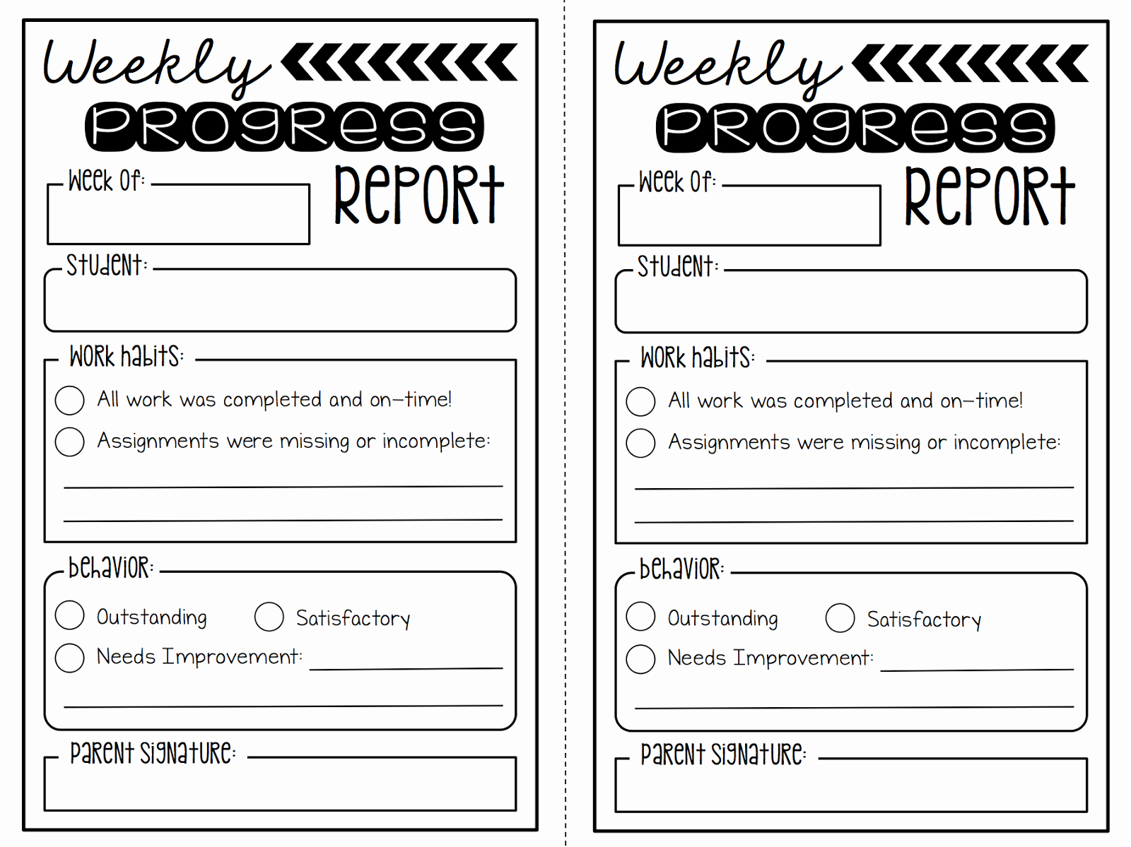 Weekly Progress Report Template Beautiful Summertime Revamp 2 Weekly Progress Reports Freebie