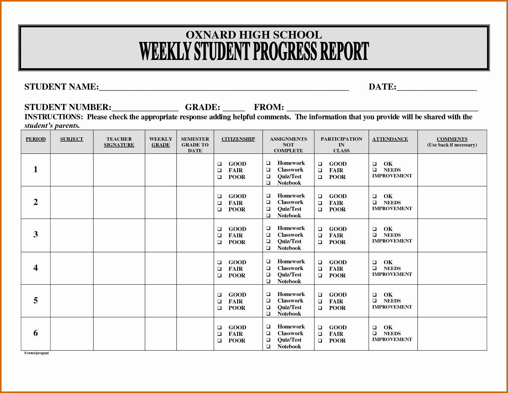 Weekly Progress Report Template Fresh 13 Progress Reports for Elementary Students