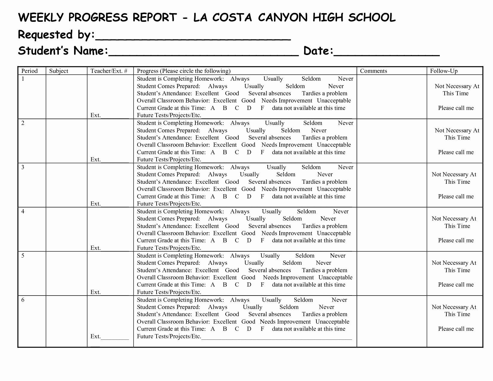 Weekly Progress Report Template Luxury School Weekly Progress Report Template
