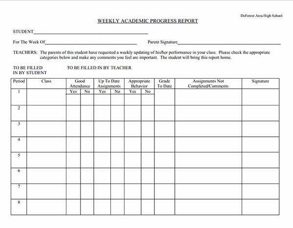 Weekly Progress Report Template New Student Weekly Progress Report Template