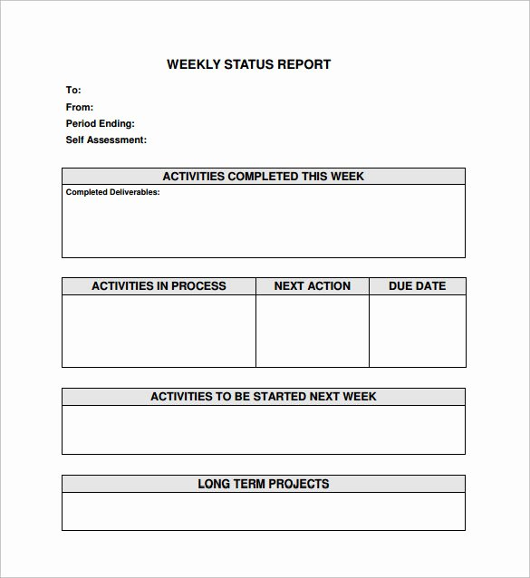 Weekly Progress Report Template New Weekly Status Report Template 9 Download Free Documents
