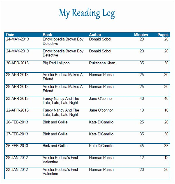 Weekly Reading Log Template Awesome 9 Reading Log Templates Free Pdf Doc