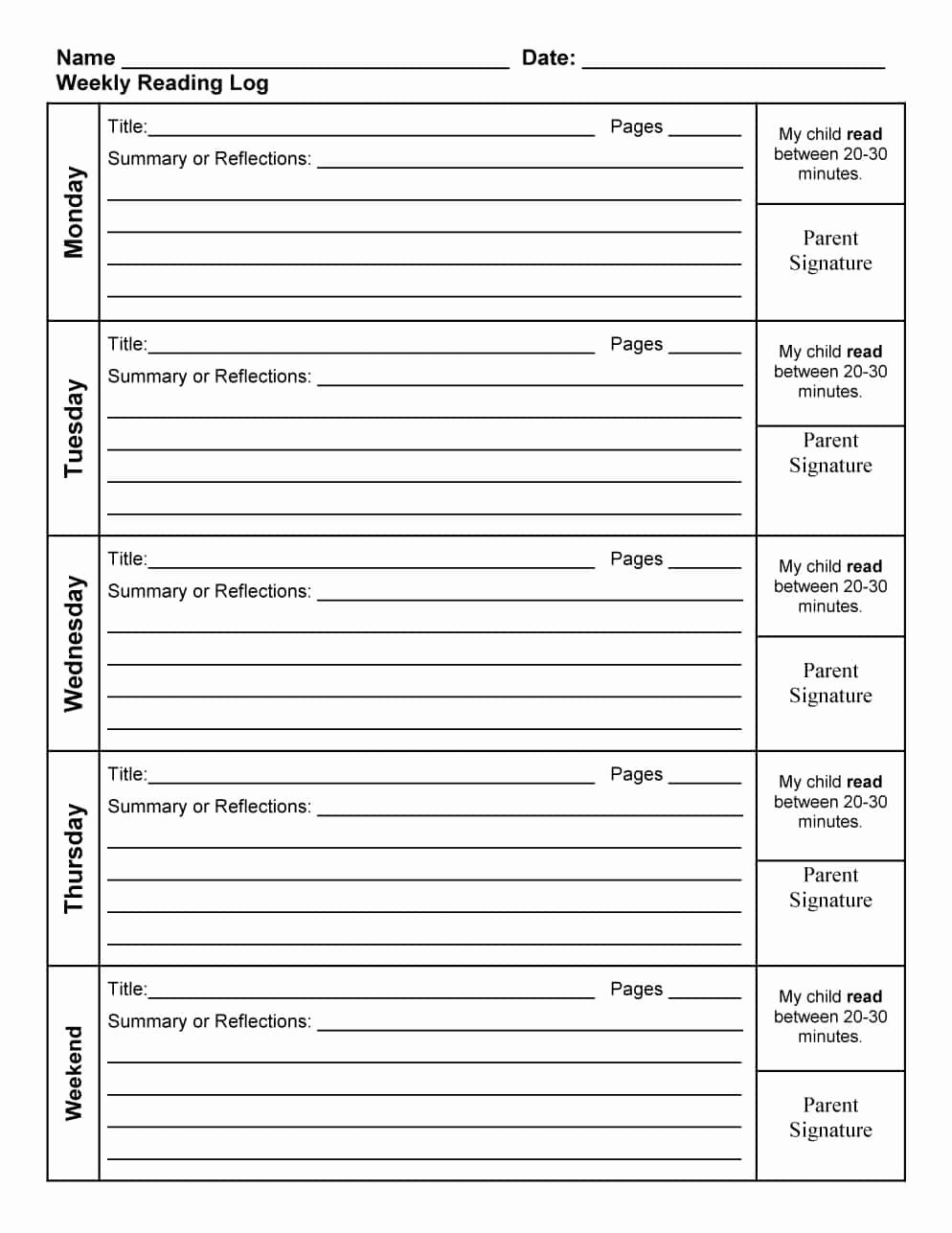 Weekly Reading Log Template New 47 Printable Reading Log Templates for Kids Middle School