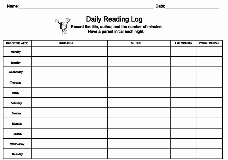 Weekly Reading Log Template New Printable Reading Log for Elementary Grades