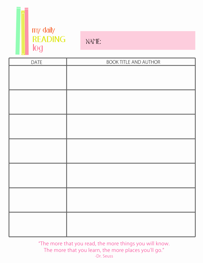 Weekly Reading Log Template New Printable Reading Log for Elementary Kids