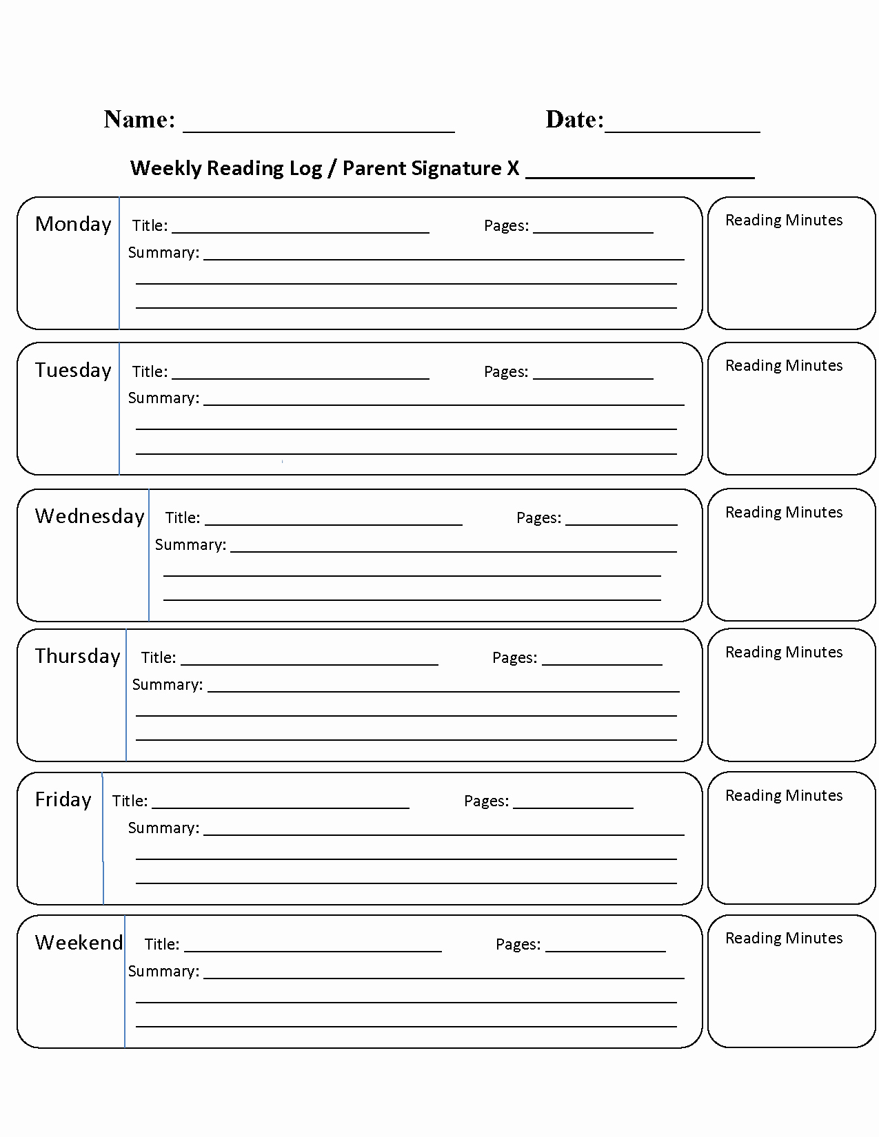 Weekly Reading Log Template New Reading Log Png Transparent Reading Log Png