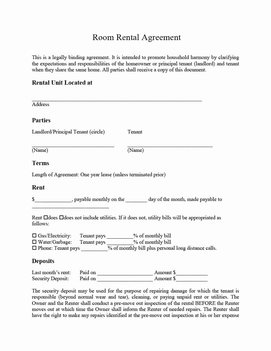 Weekly Rental Agreement Template Awesome 39 Simple Room Rental Agreement Templates Template Archive