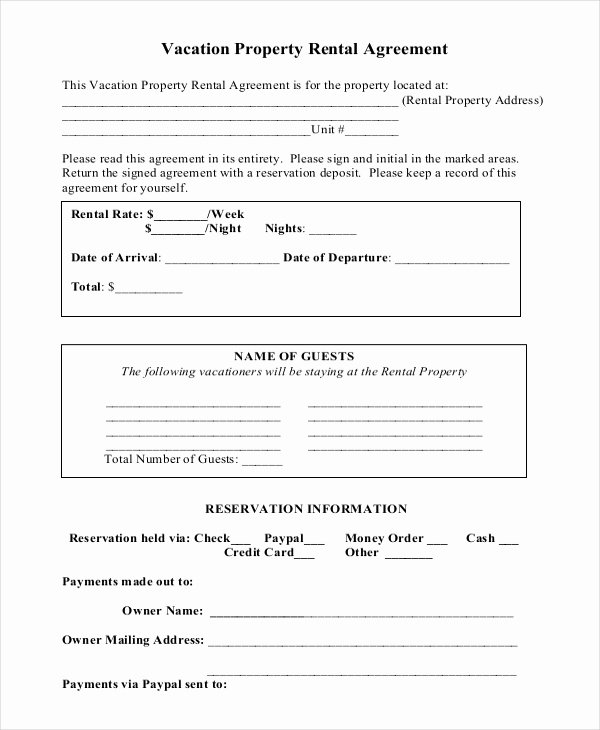 Weekly Rental Agreement Template Beautiful Vacation Rental Agreement – 8 Free Word Pdf Documents