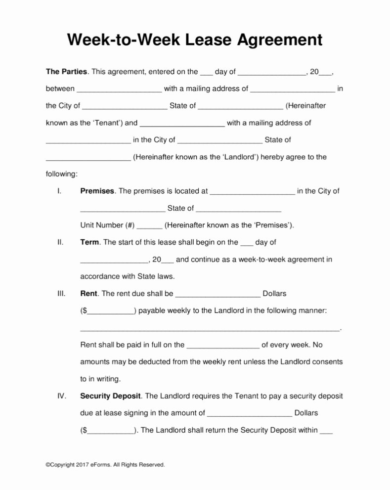 Weekly Rental Agreement Template Best Of Template Rental Agreement