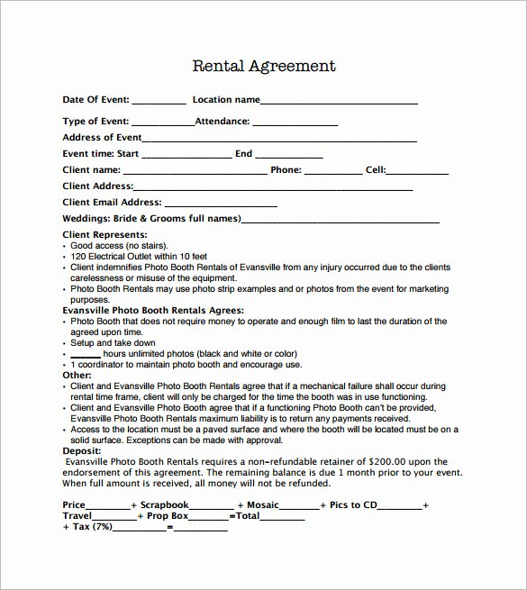 Weekly Rental Agreement Template Fresh Booth Rental Agreement 8 Download Free Documents In Pdf