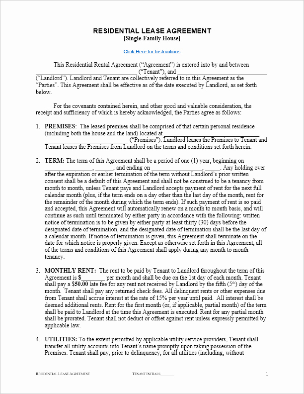 Weekly Rental Agreement Template Luxury Free Lease Agreement Template for Word