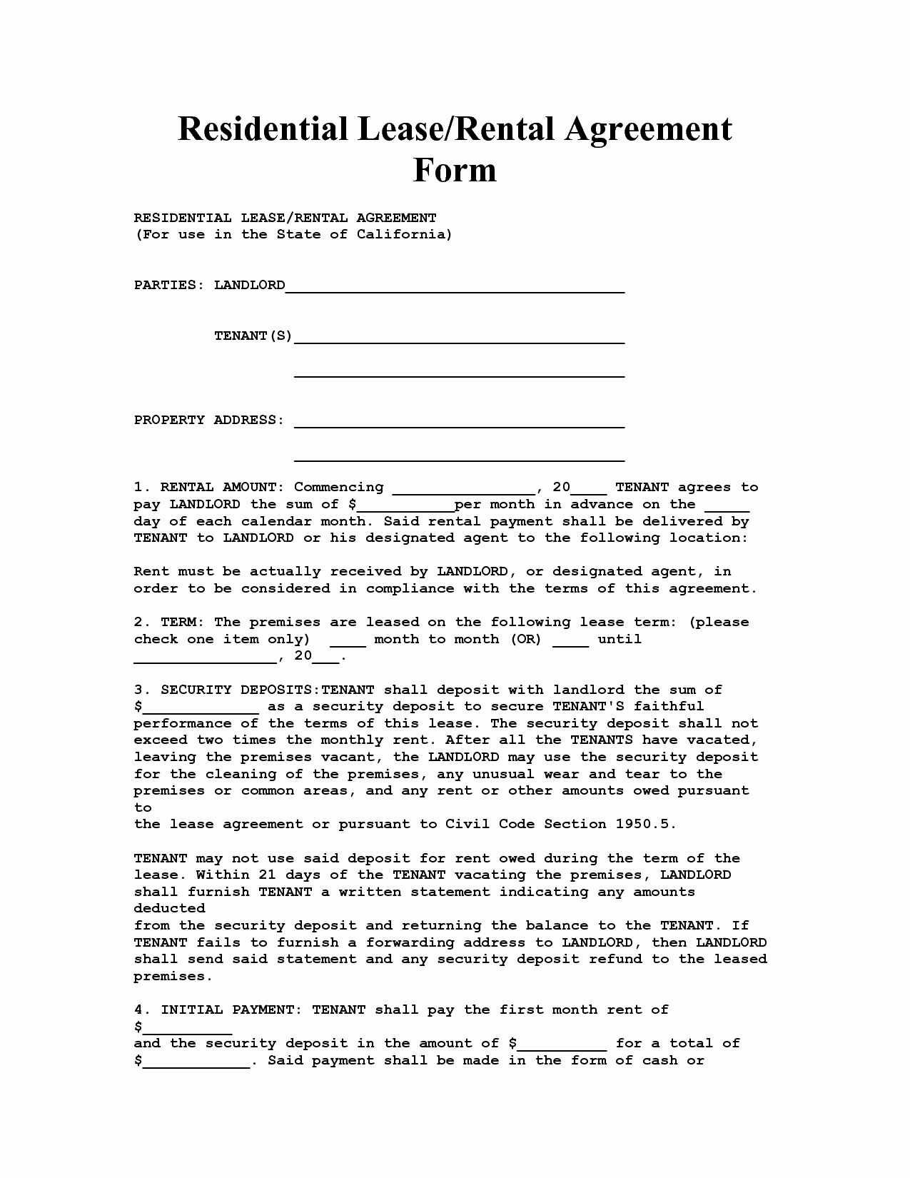 Weekly Rental Agreement Template Unique California House Lease Agreement form