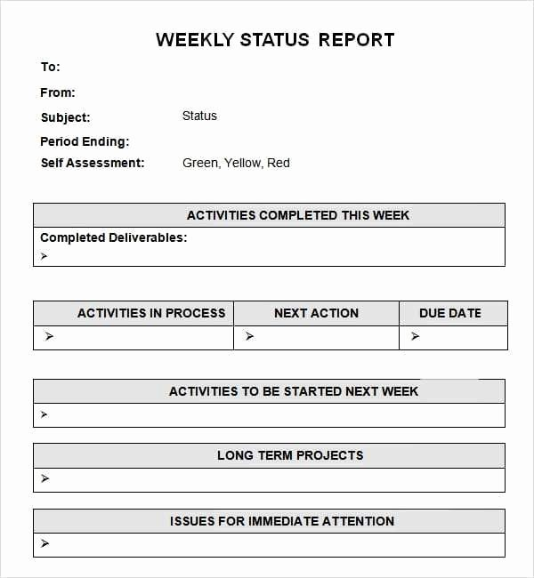 Weekly Report Template Excel New 7 Weekly Status Report Templates Word Excel Pdf formats