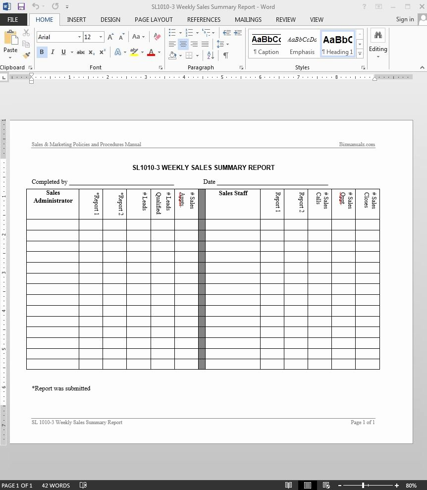 Weekly Sales Report Template Beautiful Weekly Sales Summary Report Template