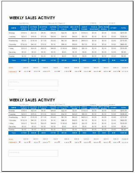 Weekly Sales Report Template Elegant Weekly Sales Report Templates for Ms Excel
