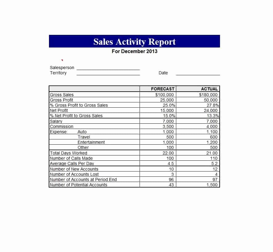 Weekly Sales Report Template Lovely 45 Sales Report Templates [daily Weekly Monthly Salesman