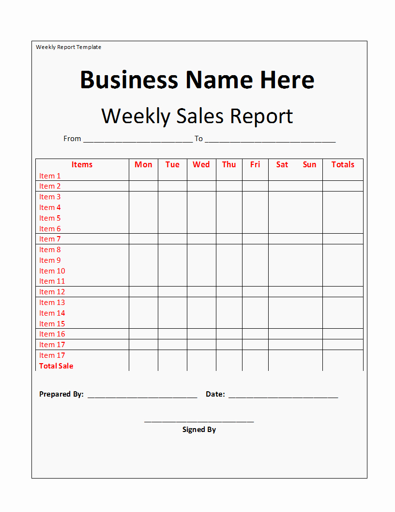 Weekly Sales Report Template Luxury Weekly Report Template Free formats Excel Word