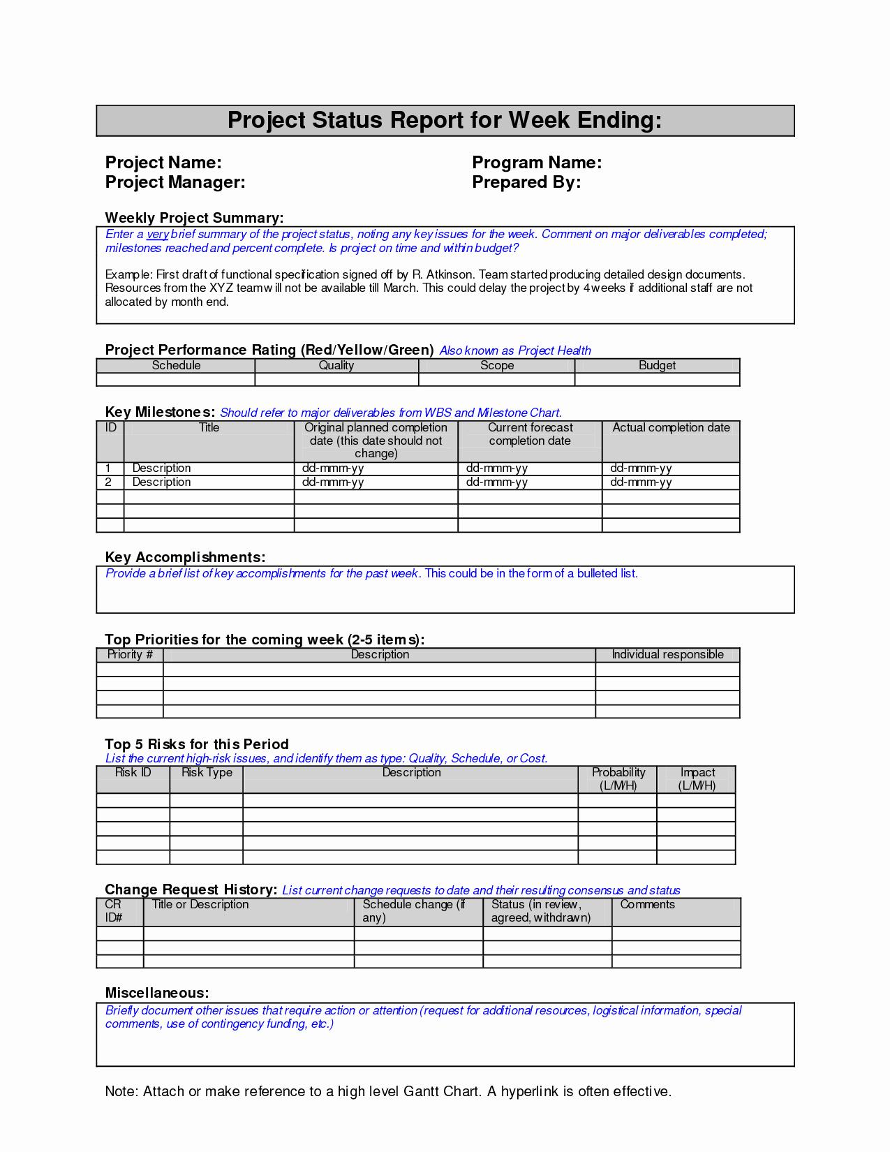 Weekly Status Report Template Elegant Weekly Project Status Report Sample Google Search