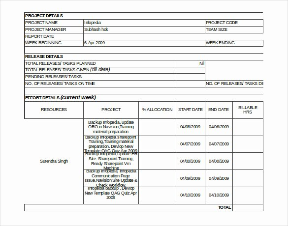Weekly Status Report Template Inspirational Status Report Templates 7 Free Word Documents Download