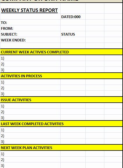 Weekly Status Report Template Luxury Weekly Status Report Template – Excel Word Templates
