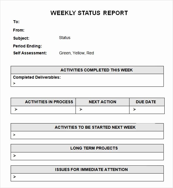 Weekly Status Report Template Unique 7 Weekly Status Report Templates Word Excel Pdf formats