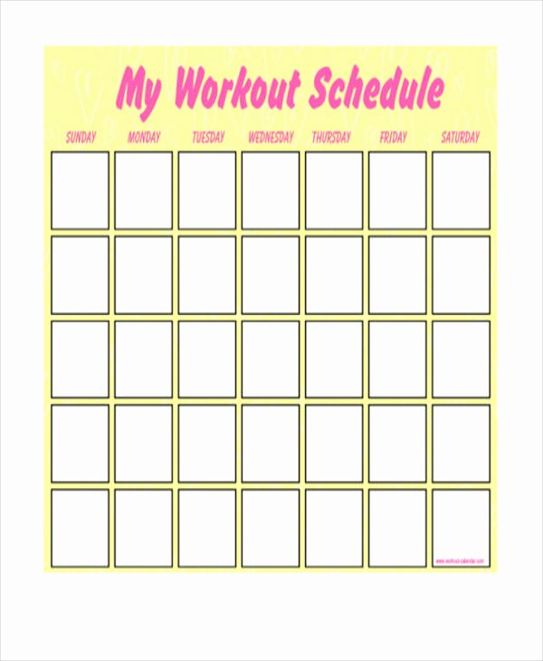 Weekly Workout Schedule Template Best Of Blank Workout Schedule Templates 7 Free Word Pdf