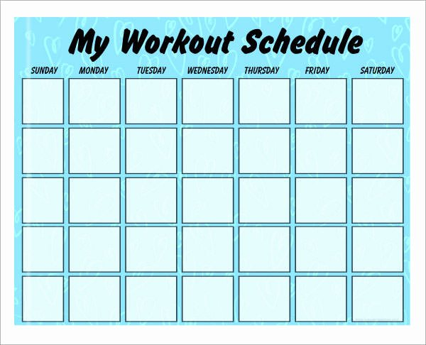 Weekly Workout Schedule Template Luxury 5 Sample Workout Schedules