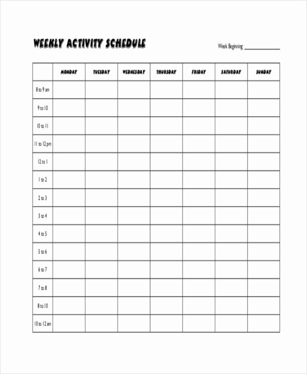 Weekly Workout Schedule Template Luxury Blank Workout Schedule Templates 7 Free Word Pdf