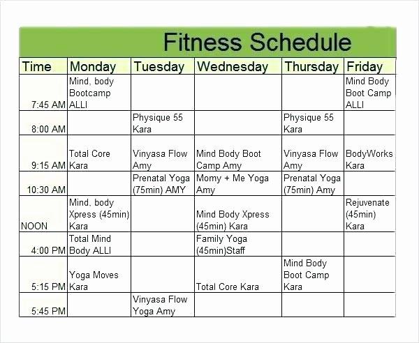 Weekly Workout Schedule Template Luxury Weekly Training Schedule Template – Tangledbeard