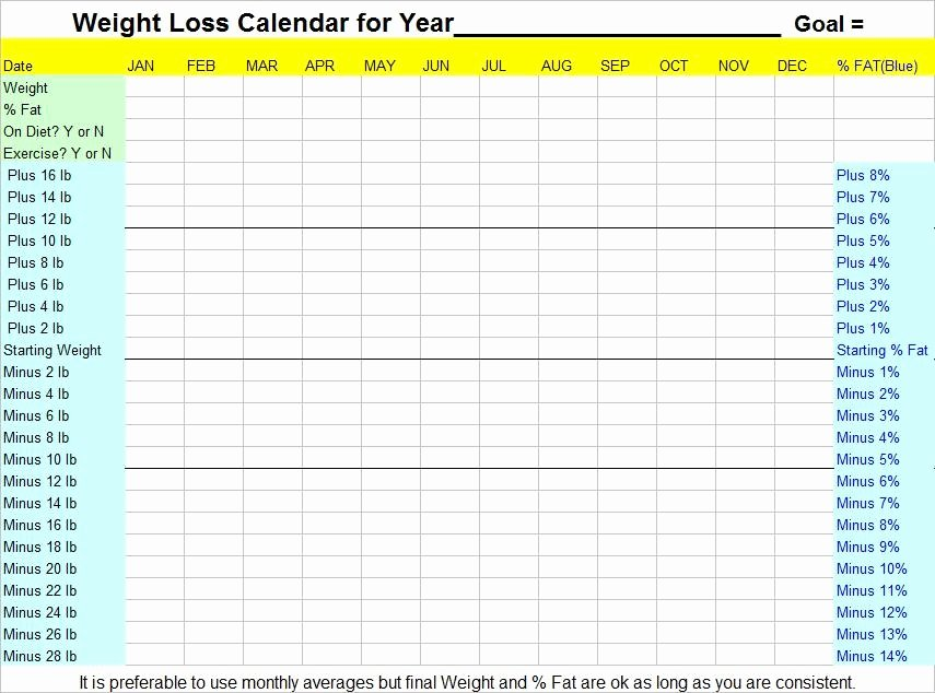 Weight Loss Calendar Template Best Of 8 Best Of Weight Loss Planner Printable Free