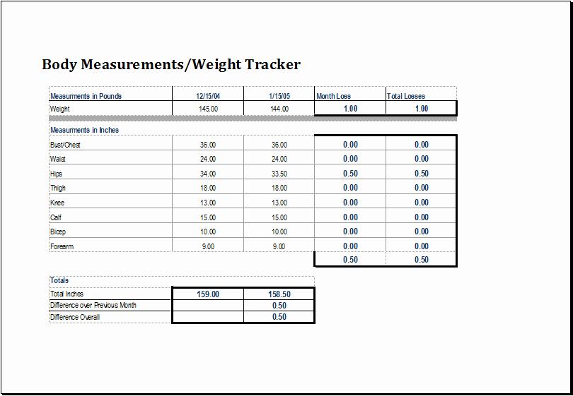 Weight Loss Tracker Template Inspirational Body Measurement and Weight Tracker Template
