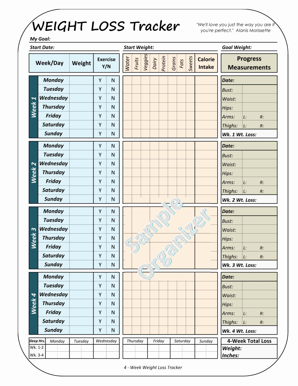 Weight Loss Tracker Template Lovely Weight Loss Tracker Printable Weight Loss Planner 4 Week