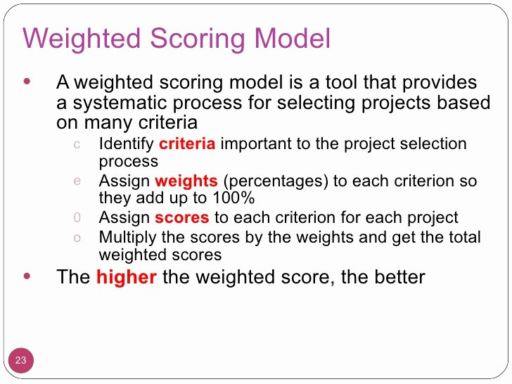 Weighted Scoring Model Template Elegant L03 Integration Management
