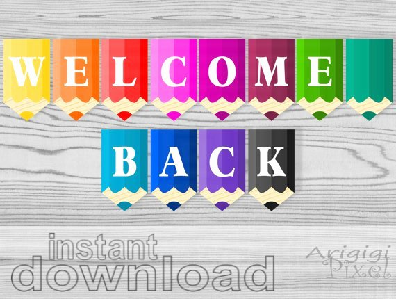 Welcome Back Sign Template Unique Wel E Back Printable Banner Colored Pencils Classroom