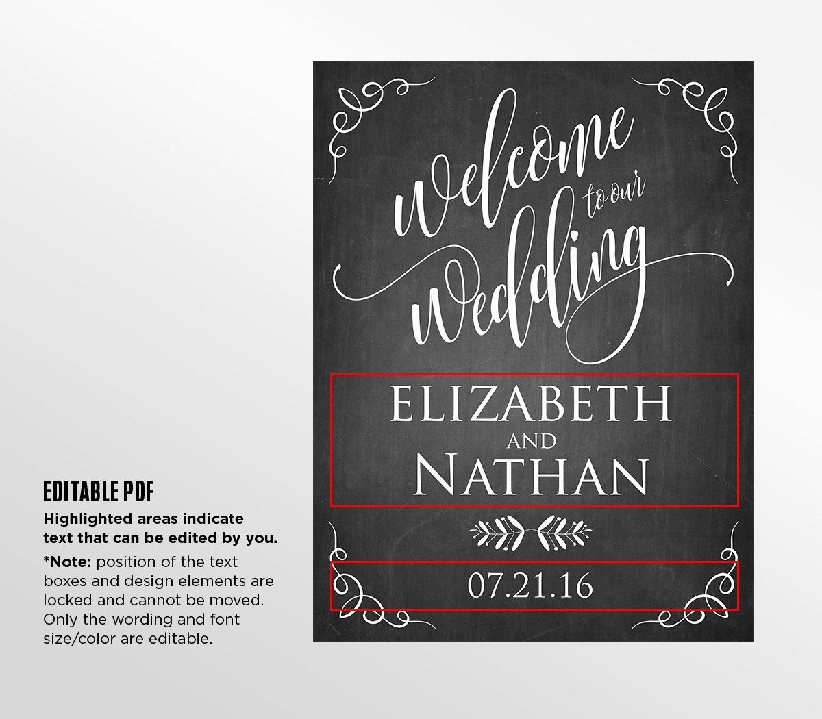 Welcome Sign Template Free Beautiful Printable Wedding Wel E Sign Template Rustic Chalkboard